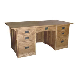 Chelsea Home Furniture - Chelsea Home Rutgers 72 Inch Flat Top Desk in Red Oak - Where simple rustic charm meets modern simplicity, this handcrafted Rutgers Flat top desk in red Oak caters to practicality. Its clean design and beautiful finish offers durability and longevity while neatly organizing all of your essentials in the full extension dovetail drawers. Chelsea Home Furniture proudly offers handcrafted American made heirloom quality furniture, custom made for you. What makes heirloom quality furniture? It's knowing how to turn a house into a home. It's clean lines, ingenuity and impeccable construction derived from solid woods, not veneers or printed finishes over composites or wood products _ the best nature has to offer. It's creating memories. It's ensuring the furniture you buy today will still be the same 100 years from now! Every piece of furniture in our collection is built by expert furniture artisans with a standard of superiority that is unmatched by mass-produced composite materials imported from Asia or produced domestically. This rare standard is evident through our use of the finest materials available, such as locally grown hardwoods of many varieties, and pine, which make our products durable and long lasting. Many pieces are signed by the craftsman that produces them, as these artisans are proud of the work they do! These American made pieces are built with mastery, using mortise-and-tenon joints that have been used by woodworkers for thousands of years. In addition, our craftsmen use tongue-in-groove construction, and screws instead of nails during assembly and dovetailing _both painstaking techniques that are hard to come by in today's marketplace. And with a wide array of stains available, you can create an original piece of furniture that not only matches your living space, but your personality. So adorn your home with a piece of furniture that will be future history, an investment that will last a lifetime.