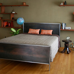 2012 Furniture Designs - Handmade steel bed featuring oxidized steel panels.