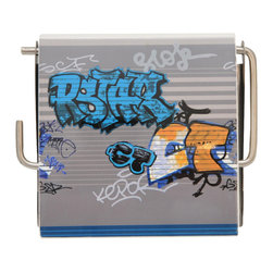 Toilet Tissue Dispenser MDF Graffiti Multicolor - This toilet tissue dispenser for bathrooms is in medium-density fiberboard (MDF) and metal. Its urban style design is perfect to give a decorative touch to any bathroom. Easy to fix to the wall with the mounting hardware included (2 screws). Length 5.31-Inch, height 4.5-Inch and depth 1-Inch. Wipe clean with a damp cloth. Color multicolor. An attractive way to dispense toilet tissue and to add an elegant design to your bathroom! Complete your decoration with other products of the same collection. Imported.