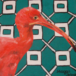Scarlet Ibis (Original) by Meagan Johnson - This painting is part of a series I did in which I called Birds and Backgrounds. I was visiting my Uncle and Aunt in Florida for a summer so I decided to paint the beautiful birds that you see in Florida. To give it a unique touch I put a patterned background behind the bird.