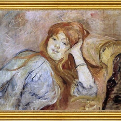 "Berthe Morisot-16""x24"" Framed Canvas - 16"" x 24"" Berthe Morisot Young Woman Leaning on Her Elbow framed premium canvas print reproduced to meet museum quality standards. Our museum quality canvas prints are produced using high-precision print technology for a more accurate reproduction printed on high quality canvas with fade-resistant, archival inks. Our progressive business model allows us to offer works of art to you at the best wholesale pricing, significantly less than art gallery prices, affordable to all. This artwork is hand stretched onto wooden stretcher bars, then mounted into our 3"" wide gold finish frame with black panel by one of our expert framers. Our framed canvas print comes with hardware, ready to hang on your wall.  We present a comprehensive collection of exceptional canvas art reproductions by Berthe Morisot."