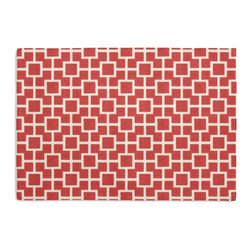 Coral Square Trellis Custom Placemat Set - Is your table looking sad and lonely? Give it a boost with at set of Simple Placemats. Customizable in hundreds of fabrics, you're sure to find the perfect set for daily dining or that fancy shindig. We love it in this modern coral pink geometric trellis on white lightweight linen. who knew being hip could be so square?
