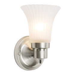 Design House - Design House 504977 1 Light Up Lighting Vanity Wall Sconce with Frosted Flute Gl - Design House 1 Light Vanity Wall SconceThis Satin Nickel Bath Sconce Is A Perfect Update To Any Bath Remodel.