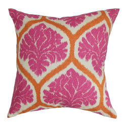 The Pillow Collection - Priya Floral Pillow, Pink - Channel positive vibes to your home with this bright floral pillow. Let the vibrant shades of pink, orange and white add energy to your living room or bedroom. Combine this decor pillow with solids and patterns for an interesting decor style. This accent pillow perfectly suits your couch, sofa or bed plus it brings extra comfort. Made from 100% plush and soft cotton fabric. Hidden zipper closure for easy cover removal.  Knife edge finish on all four sides.  Reversible pillow with the same fabric on the back side.  Spot cleaning suggested.