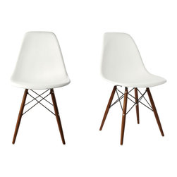 Ariel - S/2 Eames Molded White Plastic Dining Shell Chair W/Dark Walnut Wood Eiffel Legs - Instantly turn your living quarters into a place for comfortable relaxation with this beautiful 2 dining chair set. Constructed of heavy duty polypropylene seats in matte finish, this stylish chair set is perfect for the home office, training room, or play area. Also available in black, gray, or light blue.