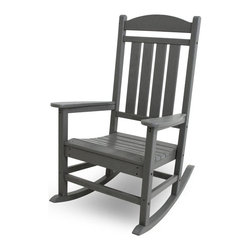 Polywood - Eco-friendly Presidential Rocker - While your aspirations may never lead you to the Oval Office, you'll feel just as important when relaxing in the stately Polywood Presidential Rocker. This comfortable rocker designed to coordinate with the rest of your outdoor decor. Built for long-lasting durability and good looks, you can be sure this heirloom-quality rocker will be around for many generations to enjoy. It is resistant to corrosive substances, insects, fungi, salt spray and other environmental stresses. It requires no painting, staining, waterproofing or similar maintenance.