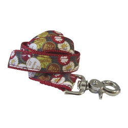 "chief furry officer - Designer Fabric Dog Leash - Roscoe Blvd, 5/8"" X 6' - cfo proudly presents ""roscoe blvd"". The beer cap motif is prominently featured on a graphite grey background with a mix of crisp reds, whites, browns and green. Perfect pattern for the beer loving pet lover!"