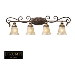 Elk Lighting - Regency 4-Light Vanity Lt in Burnt Bronze - Inspired by the scrolling design of the trump family crest, regency creates a rich and regal ambiance. The solid cast iron scrolls and burnt bronze finish compliments the delicate weathered gold leaf accents and caramel amber glass to create a dramatic and stunning collection.