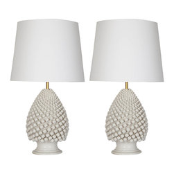Pair of Majolica Table Lamps - A pair of Italian majolica lamps with opaline light cup.