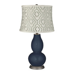 """Color Plus - Contemporary Naval Taj Sea Glass Shade Double Gourd Table Lamp - Exclusive Naval blue designer color. White cotton blend fabric shade with embroidered sea glass green Taj pattern. Hand-crafted lamp. From the Color + Plus lighting collection. Maximum 150 watt or equivalent bulb (not included). 29 1/2"""" high. Shade is 14"""" across the top 16"""" across the bottom 11 1/2"""" high.   Exclusive Naval blue designer color.  White cotton blend fabric shade with embroidered sea glass green Taj pattern.  Hand-crafted lamp.  From the Color + Plus lighting collection.  Maximum 150 watt or equivalent bulb (not included).  29 1/2"""" high.  Shade is 14"""" across the top 16"""" across the bottom 11 1/2"""" high."""