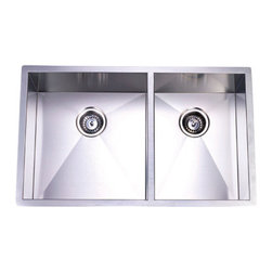 """Kingston Brass - Double Bowl Undermount Kitchen Sink - The double-bowl undermount kitchen sink features two basins-- the left sink constructed with a 16-7/8"""" length and a 20-1/16"""" width (18"""" inset). The right basin is made with a wider capacity and measures 13"""" in length with a 20-1/16"""" width (18"""" inset). Both of the basins provide ample space for washing kitchen appliances as well as preparing food. The sink is also fully protected by a heavy-duty sound deadening pad to minimize noise while washing appliances in the sink. Made from high quality stainless steel for reliance and durability.; The underside has sound-absorbing pads applied to dampen sound; 18-gauge stainless steel; Bowl Dimensions: Left Bowl- (L)16-7/8"""" x (W)18"""", Right Bowl- (L)13"""" x (W)18""""; Includes mounting hardware; Exposed Surfaces Are hand-polished to a lustrous brushed nickel finish; Material: Stainless Steel; Finish: Brushed Nickel; Collection: Gourmetier"""