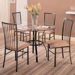 "Coaster - Layne Collection Layne Contemporary 5Pc Dining Set - Sleek simple, lines, the Layne contemporary 5pc dining set features a clear glass top, sleek metal base and matching upholstered side chairs.; Traditional Style; Layne Collection; Some assembly required.; Dimensions: Table: 42"" dia. x 30""H; Chair: 21""L x 17""W x 38""H"