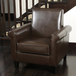 Christopher Knight Home - Christopher Knight Home Freemont Leather Brown Club Chair - Enjoy elegant appeal without losing floorspace when you add this small leather club chair to your favorite room. Made for compact comfort,this bonded leather chair features rounded arms and a squared back that invites guests to sit and stay awhile.