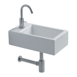 """WS Bath Collections - Hox Wall Mounted Bathroom SInks, Mini 45r - Hox Mini 45R, 17.7"""" x 9.8"""" x 5.1"""", Wall Mounted Bathroom Sink in Ceramic White"""