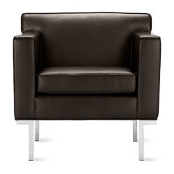 Theatre Armchair in Leather - Modern sofas often tout minimalist appeal, but few can also claim the comfort of Ted Boerner's Theatre Sofa, Two-Seater Sofa and Armchair (2001). Designed to accommodate the human body with studied proportions and simple geometry, the set's comfort stems from its form rather than excessive layers of stuffing and upholstery. The gentle angling of the backrest, full seat depth and elevated armrests are eminently suited to a formal living room or reception area. Boerner's signature artisan details are evident throughout these handcrafted pieces; welted seams lend strength and definition to the supple, full-grain Italian leather or high-quality fabric upholstery. A gleaming chromed steel base that runs the entire depth of the design. Made in U.S.A.