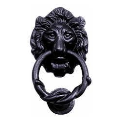Renovators Supply - Door Knockers Black Cast Iron Lion Head Door Knocker 6H x 3 3/4W | 15864 - Door Knocker. Once a sign of their homeowner?s profession- doorknockers now come in a variety of designs & finishes for everyone?s style. Step-up your curb appeal & add value to your home with finishing touches like a knocker. Made of 100% black cast iron with our Exclusive rust-resistant RSF powder coat finish make this knocker a knock out! Easy installation- thread bolts through the door for secure mounting. Mounting hardware included. Measures 6 in. H x 3 3/4 in. W.