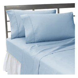 SCALA - 300TC 100% Egyptian Cotton Solid Blue Full Size Flat Sheet - Redefine your everyday elegance with these luxuriously super Flat Sheet  . This is 100% Egyptian Cotton Superior quality Flat Sheet that are truly worthy of a classy and elegant look.