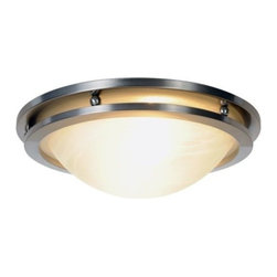 "AF Lighting - AF Lighting Contemporary Flush Mount Brushed Nickel Ceiling Fixture Light 617602 - This is a brand new ceiling fixture from AF Lighting (model # 617602). This flush mount ceiling fixture blends well with any room's décor. It features a beautiful brushed nickel finish with alabaster glass. Ceilign Fixture measures 14""W x 4""H and uses two 60-watt medium base bulbs (not included). Retail for this AF Lighting ceiling fixture is $111.63."