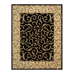 "Nourison - Nourison Versailles Palace VP43 3'6"" x 5'6"" Black Area Rug 42907 - A dramatic tapestry effect is presented in this lush, lovely rug with a bold, contrasting palette of ebony and antique ivory. Leaves unfurl across the center ground and border with energetic vitality, renewing the classic Aubusson motif. Beautifully enriched by dimensional hand-carving."