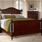 Broyhill - Hayden Place Panel Bed - 4647-26B - If you're looking to add some country flair to your bedroom, you'll love the Hayden Place Panel Bed. This charming panel bed features a dark cherry finish that accentuates the natural wood grain and includes traditional details like turned finials, bead-board detailing and beveled edges. Need a bit more storage, choose the storage footboard option for added convenience.