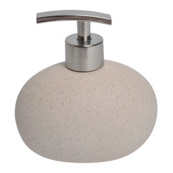 Sand Stone Effect Stoneware Soap Dispenser Beige - This elegant soap dispenser for bathrooms is in stoneware with a sand stone effect and simple lines and will add a natural look and feel to your decor. This soap dispenser is a lovely accent for any bathroom with its egg shape and features a length of 4.92-Inch, a width of 3.35-Inch and a height of 5.12-Inch. The chrome-plated top unscrews for refilling with soap or lotion. Wipe clean with soapy water. Color beige. Accessorize your bathroom countertop in a trendy style with this charming soap dispenser! Complete your decoration with other products of the same collection. Imported.