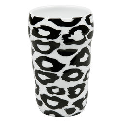 Konitz - Set of 2 Double-Walled Grip Mugs Leopard - Release your inner wild side with this animal print mug. Features black-and-white leopard design. The Grip Mug is double-walled, keeping the beverage inside hot and your hand comfortably cool. Organic shape fits your hand perfectly without a handle.