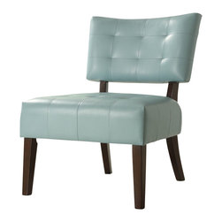 Homelegance - Homelegance Warner Bi-Cast Vinyl Armless Accent Chair - When designing your living space the accent pieces you choose not only to fill the room but allow for the expression of your individual style to come shining through. Offered in a multitude of bi-cast vinyl, our accent collection will compliment your unique style. Combining wood and bi-cast vinyl the Warner collection is offered in the following covers: Sky blue, dark brown, lava red and white.