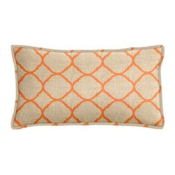 "Cushion Source - Sunbrella Accord Koi Outdoor Lumbar Pillow - The 20"" x 12"" Sunbrella Accord Koi Outdoor Lumbar Pillow features a canvas textured lattice print in tangerine on a beige background."