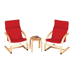 Guidecraft - Guidecraft Birch Kiddie Rocker Chair Set in Red - Guidecraft - Kids Rocking Chairs - G6400 - Set is Two Chairs with Table. Children will love these well designed comfortable chairs! This three piece set is ideal for your dramatic play reading or resting area.