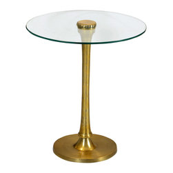 Four Hands - Exquisite Mani Side Table - This Exquisite Mani Side Table personifies sleekness. The glass top as well as the sleek metallic stems pictures the craftsmanship stirred in the design. The metallic part features a lacquered brass finish while the top showcases veritable transparency. This table is apt to uphold your beautiful decors or could be installed by the side of your bed on a purpose.