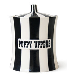 Puppy Uppers Canister - If your pups could read, this tongue-in-cheek dog treat container would definitely make them laugh.