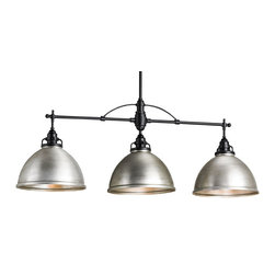 Currey and Company - Ruhl Rectangular Chandelier - Three is better than one when it comes to this classic chandelier. Featuring three aluminum bells with a brushed nickel finish, it fills your space with glorious light and simple, understated style.