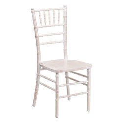 "Flash Furniture - Flash Elegance Supreme Lime Wash Wood Chiavari Chair - If you've been to a wedding, chances are you've sat in a Chiavari chair. Chiavari Chairs have become a classic in the event industry and are also highly popular in high profile entertainment events. This chair is used in all types of elegant events due to its lightweight, stacking capabilities and elegant design. Keep your guests comfortable with optional cushions and keep your chairs beautiful with optional chair covers.; 1100 lb. Static Load Weight Capacity; Wood Chiavari Chair in Lime Wash Finish; High Quality Hardwood Frame; Reinforced Stress Points provide Greater Stability, Safety and Durability; Reinforced Stress Points provide Greater Stability, Safety and Durability; Durability ensured with Steel Flat Socket Cap Screw and Lockout; Special 45° Joints Installed on bottom of front seat section for Extra Stability; Stacks up to 10 High; Constructed for Indoor and Outdoor Events; 2 Year Limited Warranty on Frame; 1 Year Limited Warranty on Seat Cushion; Ships Fully Assembled; Weight: 10 lbs; Overall Dimensions: 16.25""W x 17""D x 36.25""H"