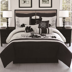 None - Vienna 10-piece Embroidered Comforter Set - Add an elegant look to your bedroom with the Vienna black and ivory comforter set featuring a  graceful velvety floral design. The set is further enhanced by contrasting euro shams with white piping and embroidered pillow shams with velvet flowers.