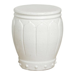 "The Ivory Company - A Thousand Blossoms Garden Stool, Medium - Carved flower petals gently wrap around the classic barrel shape, while raised, round dots accent the base. Sturdy ceramic construction with a flat top. Use as an extra casual seat, accent table or base to a glass table top. White with a high-gloss finish.These traditional inspired designs of an oriental staple make for handsome and distinctive accent pieces for the home. Enjoy these in and out of the house - in a formal living area, garden or in a vestibule. The sturdy functionality is only second to the aesthetic appeal of their timeless shape and style. Each Garden Stool design has been carefully hand-picked for its distinctive styling and its overall aesthetics.This is guaranteed to add beauty, style and add some practical functionality to any area of your home. Measures 13x18""H"