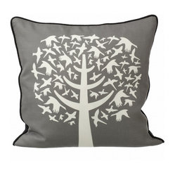 Bird Leaves Pillow, Grey