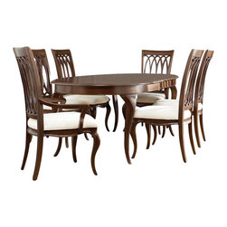 American Drew - American Drew Cherry Grove NG 9 Piece Dining Room Set in Brown - Cherry Grove New Generation line promises the same timeless quality and appeal with a full line of dining room, bedroom, home office, entertainment and occasional furniture. The line incorporates many elegant curves and graceful movement, and is updated with today's finishes, functionality and style. The inviting mid tone brown finish makes the cherry veneers pop on each piece, along with custom designed hardware. This line takes advantage of vertical space with higher case heights, and maximizes the utility of small spaces with hinged drop leaves on servers and tables. In combination, the collection takes functionality to a lifestyle level and allows urban or scaled-down living spaces to become entertainment areas, making small rooms work like big rooms. The New Generation of Cherry Grove is about honoring tradition while staying on trend.