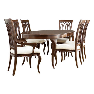 American Drew - American Drew Cherry Grove NG 9-Piece Dining Room Set in Brown - Cherry Grove New Generation line promises the same timeless quality and appeal with a full line of dining room, bedroom, home office, entertainment and occasional furniture. The line incorporates many elegant curves and graceful movement, and is updated with today? finishes, functionality and style. The inviting Mid tone brown finish makes the cherry veneers pop on each piece, along with Custom designed hardware. This line takes advantage of vertical space with higher case heights, and maximizes the utility of small spaces with hinged drop leaves on servers and tables. In combination, the collection takes functionality to a lifestyle level and allows urban or scaled-down living spaces to become entertainment areas, making small rooms work like big rooms. The New Generation of Cherry Grove is about honoring tradition while staying on trend.