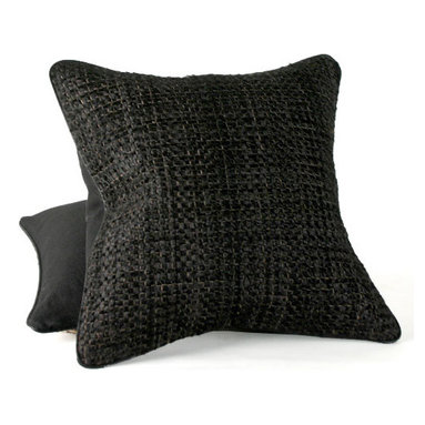 Woven Cowhide Pillow - Sensuous pillow in black cowhide, back in black linen, medium-fill feather and down insert, hidden zipper. The cowhide is cut into thin strips and woven on a loom much like fabric.
