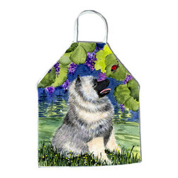 Caroline's Treasures - Keeshond Apron SS8249APRON - Apron, Bib Style, 27 in H x 31 in W; 100 percent  Ultra Spun Poly, White, braided nylon tie straps, sewn cloth neckband. These bib style aprons are not just for cooking - they are also great for cleaning, gardening, art projects, and other activities, too!