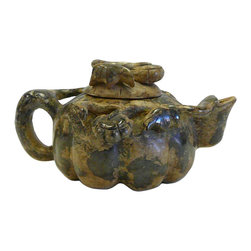 Golden Lotus - Chinese Oriental Stone Carved Teapot Shape Display Figure - This is a nicely carved  Chinese teapot shape display  with decorative motif and green yellow stone color as an accent.