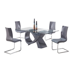 Global Furniture USA - D989DT + D989DCGrey Lacquer & Vinyl Five Piece Dining Set - This D989DT + D989DC dining set is a great way to add some contemporary flair. With a unique table base, this set is sure to catch the eye of your guests. This glass top table features a grey base color, a great match to the grey chairs. This smokey neutral grey can easily match to multiple color palettes. Each piece offers a high gloss finish that makes it shine. The dining set includes the dining table and four chairs only.