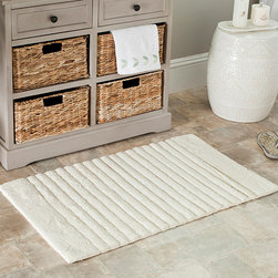 Safavieh - Safavieh Spa 2400 Gram Stripes Natural 21 x 34 Bath Rug (Set of 2) - Turn any bathroom into a spa with an ultra luxurious extra dense bath rug. Bath rug measures 21 inches high x 34 inches wide and this item comes in a set of two.