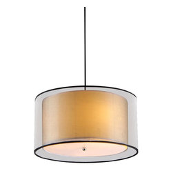 """Warehouse of Tiffany - Adjustable Ceiling Lamp - This Fabiola Crystal Ceiling Lamp creates a glamorous sparkling pendant that complements your modern look. Made of Clear Crystal, stands 50""""hx16""""w - Adjustable, uses Bulb Qty: 3*60W* type E14, with W16 and inner shade H7xW14, Acrylic, Black and Brown Fabric, Metal."""