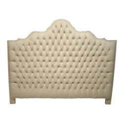 LANSKY STUDIO - Lulu French Provincial Tufted Headboard in Beige - Simple and understated but also luxurious and elegant is this Lulu french headboard. Upholstered in pure and natural beige color cotton with deep buttons for a sumptuous look and feel.