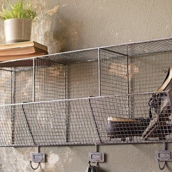 HUGE Wire Shelf With Hooks - This charming industrial Wire Shelf with Coat Hooks is perfect for keeping the mudroom organized. Three large cubby holes to store and showcase your valuables or those unique old books.
