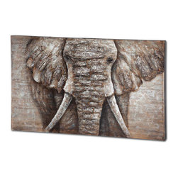 #N/A - Elephanna - Elephanna. Oil Painting. Width: 36 in. Depth: 60 in. Height: 1.17 in.