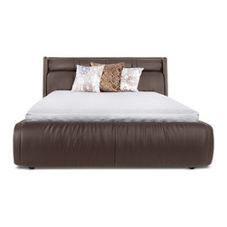Zuri Furniture - Soho Leather Platform Bed - Brown, King - You'll feel a sense of true comfort and sophistication in our Soho Bed every morning you wake up. With its ultra contemporary padded high headboard in aniline dyed, top grain Italian leather, The Soho is the dream your bedroom has been waiting for. Buy one today and add decorative nightstands, pillows and lamps from our accessory section to complete your very own unique vision. Slats ship fully assembled.