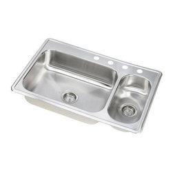 Elkay - Elkay Dayton Elite Double Bowl Sink with Four Holes and Right Prep Sink - Elkay DSEMR23322R4 Dayton Elite Double Bowl Sink with Four Holes and Right Prep Sink, Stainless Steel
