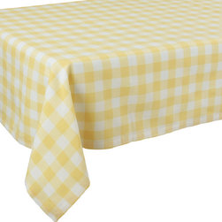 Xia Home Fashions - Gingham Check Tablecloth, 65In By 108In Yellow - This timeless pattern has been an essential part of gatherings of family and friends for generations. Available in classic red as well as blue, yellow, green and natural, you are sure to find the perfect color for any occasion.